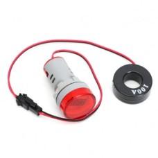 آمپر متر AC تابلویی 100 آمپر (چراغ سیگنالی) - گرد - قرمز