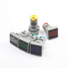 ولت متر AC تابلویی (چراغ سیگنالی) - مربعی - 60 تا 500 ولت - سبز